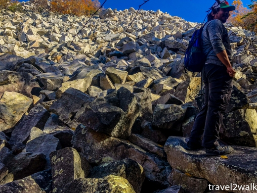 looking up at the first section of the boulder field