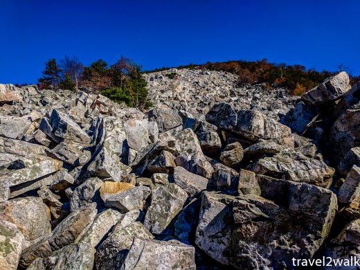 The view up the second stretch of the boulder field