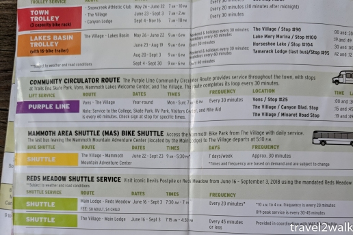 Mammoth Lakes shuttle bus schedule 2018