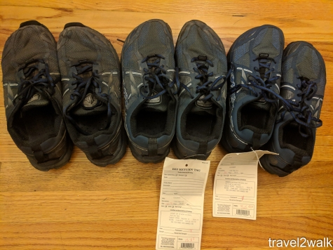 My collection of Altra Lone Peak 3.5 tripled after a recent REI garage sale. Pairs labeled 1-3 from left to right.