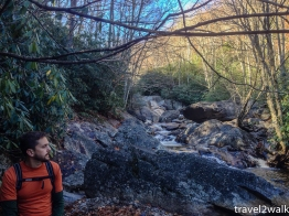 Kevin zoning out to the rushing creek in 2014.