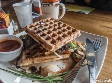 Waffles and steak from La Wafleria