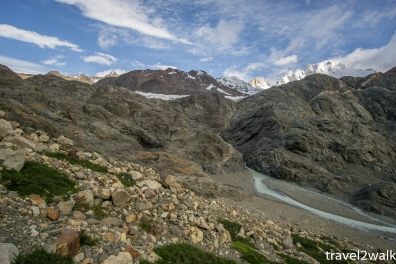 The rock face on the river left that our friends Oliva and Irene made their way up onto the glacier on.
