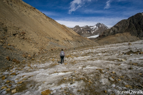 Near the end of the glacier walk, looking for the path in the scree
