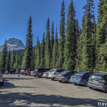 parking at the trail nearest to the Takakkaw Falls Campground