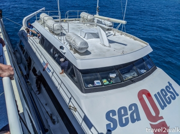 how we transferred from Sea Quest to our liveaboard, Ocean Quest